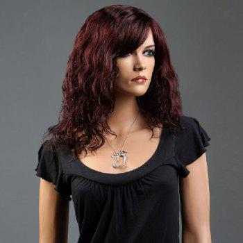 Side Bang Long Curly Fluffy Synthetic Wig - WINE RED