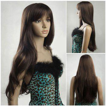 Fluffy Ultra Long Inclined Bang Natural Straight Synthetic Wig