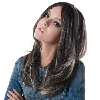 Highlight Long Side Parting Straight Synthetic Wig