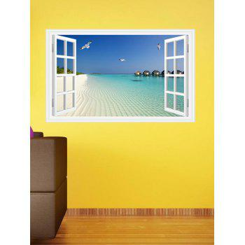 Window Design 3D Beach Removable Wall Stickers - LAKE BLUE