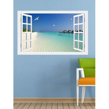 Window Design 3D Beach Removable Wall Stickers