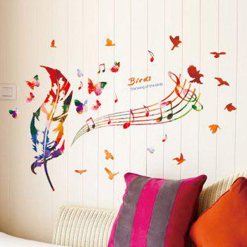 Musical Note Feather Removable Wall Stickers