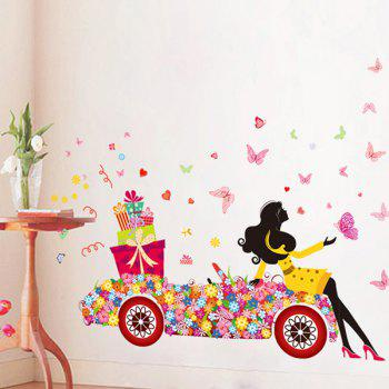 Beauty Girl Flower Car PVC Removable Wall Stickers
