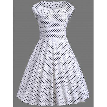 Plus Size Polka Dot A Line Dress - WHITE XL