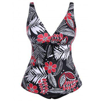 Plus Size Low Cut Leaves Print Swimwear