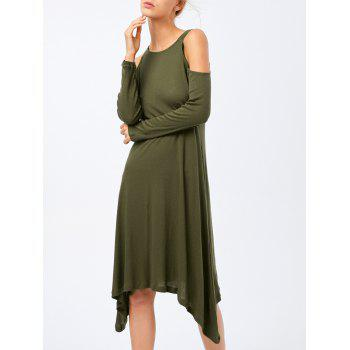 Cold Shoulder Long Sleeve Asymmetric Dress