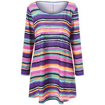 Plus Size Rainbow Striped Longline Top