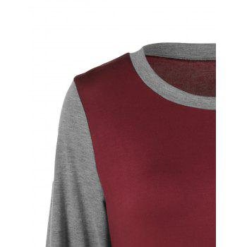 Plus Size Two Tone Asymmetrical T-Shirt - GRAY/RED GRAY/RED