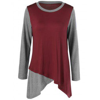 Plus Size Two Tone Asymmetrical T-Shirt - GRAY AND RED 5XL