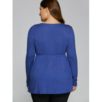 Ruched Plus Size Tunic T-Shirt - BLUE BLUE