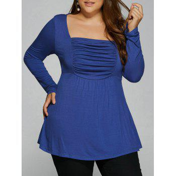 Ruched Plus Size Tunic T-Shirt - BLUE XL