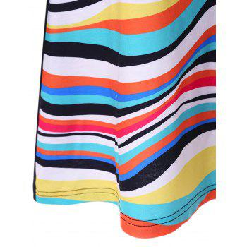 Plus Size Striped Color Block Tunic T-Shirt - 3XL 3XL