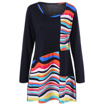 Plus Size Striped Color Block Tunic T-Shirt - COLORMIX 3XL