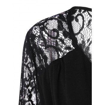 Plus Size Lace Panel Sheer Ruched T-Shirt - BLACK BLACK