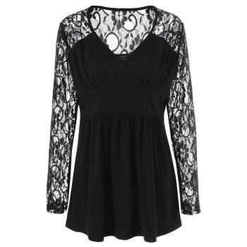 Plus Size Lace Panel Sheer Ruched T-Shirt