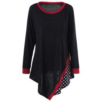 Plus Size Polka Dot T-shirt Tunique asymétrique
