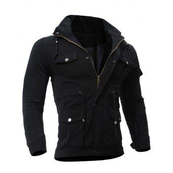 Zipper Up Utility Jacket with Multi Pockets