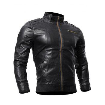 Zipper Up Panel Faux Leather Biker Jacket