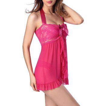 Halter Flounce Lace Panel Tank Top with Briefs - M M