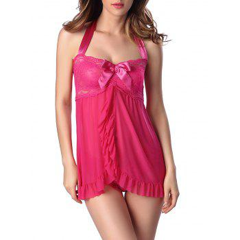 Halter Flounce Lace Panel Tank Top with Briefs - ROSE RED M