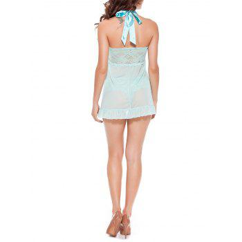 Halter Flounce Lace Panel Tank Top with Briefs - LIGHT BLUE LIGHT BLUE