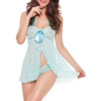 Halter Flounce Lace Panel Tank Top with Briefs