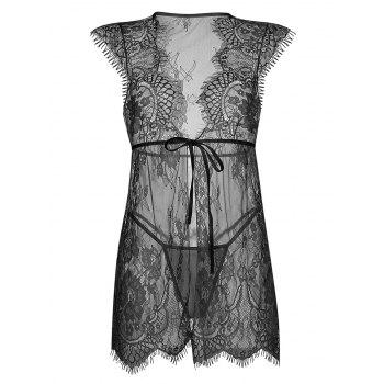 Lace Eyelash Sheer Low Cut Babydoll