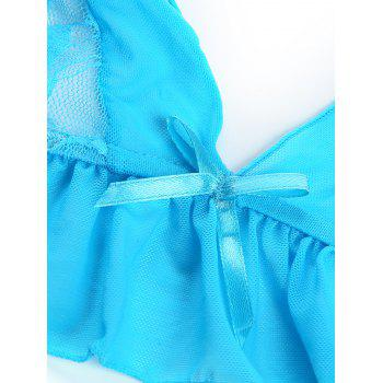 Halter Lace Panel See-Through Bra Set - AZURE AZURE