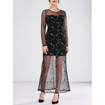 Floral Embroidered Tulle Semi Sheer Maxi Dress