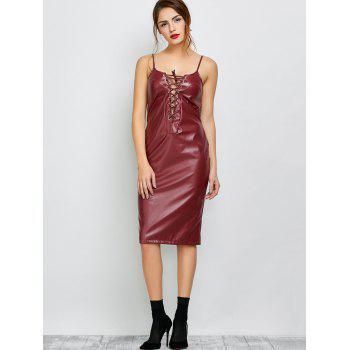 Cami Lace Up Faux cuir Robe - Bourgogne M