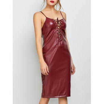 Cami Lace Up Faux Leather Dress