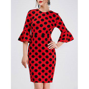 Bell Sleeve Polka Dot Sheath Dress