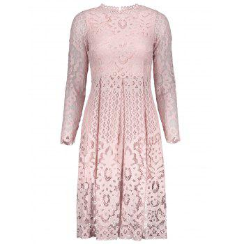 Lace Openwork Long Sleeve Dress