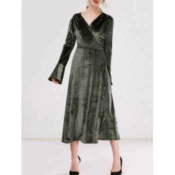 Wrap Velvet Long Sleeve Dress