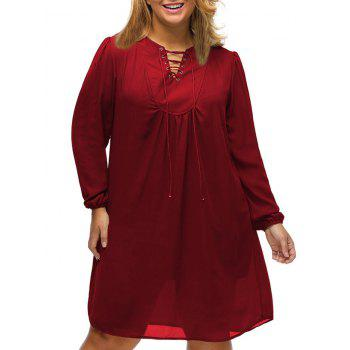 Knee Length Plus Size Lace Up Shift Dress