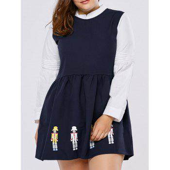 Plus Size Cartoon Character Long Sleeve Mini Dress