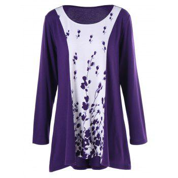 Plus Size Plant Print Two Tone T-Shirt - WHITE + PURPLE WHITE / PURPLE