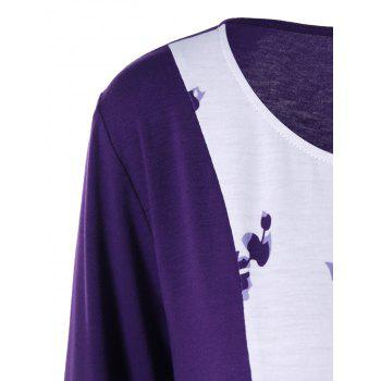 Plus Size Plant Print Two Tone T-Shirt - WHITE / PURPLE WHITE / PURPLE