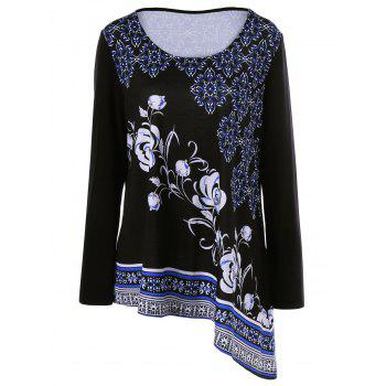 Plus Size Floral Asymmetrical T-Shirt - BLACK 2XL