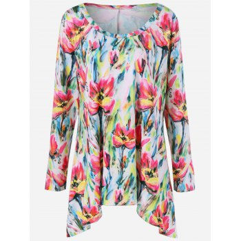 Plus Size Floral Asymmetrical Tee - COLORMIX XL