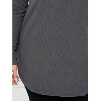 Plus Size Round Neck Long Sleeve Tee - 2XL 2XL