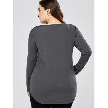 Plus Size Round Neck Long Sleeve Tee - GRAY GRAY