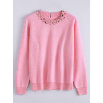 Raglan Sleeve Rivet Knit Sweater - PAPAYA PAPAYA