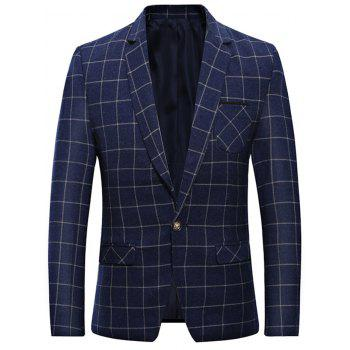 Lapel One Button Grid Blazer with Chest Pocket