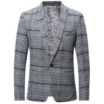 Wool Blend Single Breasted Check Blazer