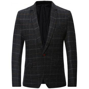 Wool Blend Single Breasted Lapel Checked Blazer