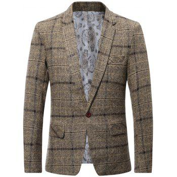 One Button Lapel Wool Blend Plaid Blazer