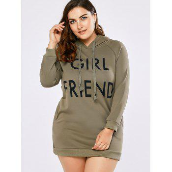 Plus Size Girl Friend Letter Kangaroo Hoodie - 2XL 2XL