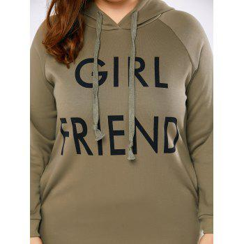 Plus Size Girl Friend Letter Kangaroo Hoodie - KHAKI GREY KHAKI GREY