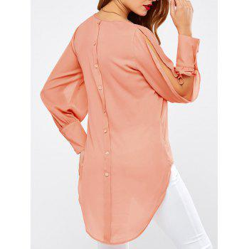 Split Sleeves Buttoned High Low Blouse